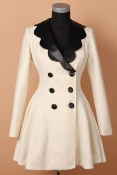 PU+Petal+Collar+Fit+and+Flared+Coat $97.5
