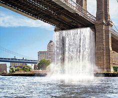 Manmade waterfall in NYC, artist Olarfur Eliasson.