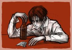 Slightly Depressed and Very Drunk Levi by alempe.deviantart.com on @DeviantArt