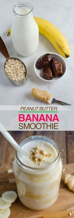 This 5 ingredient 5 min peanut butter banana smoothie is a perfect breakfast to start any mornings. It is healthy and naturally sweetened.