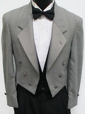 Light Grey Christian Dior 6 Button Tuxedo Tailcoat Wedding Costume Theater 40S