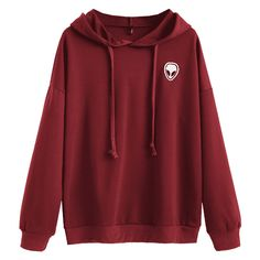 Drawstring Skull Patches Hoodie ($30) ❤ liked on Polyvore featuring tops, hoodies, red hoodies, skull top, red hooded sweatshirt, skull hoodie and red top