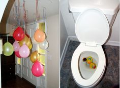 Guests walked through upside down balloons after walking in the front door just for fun.  In the bathroom, rubber duckies were floating in the toilet!