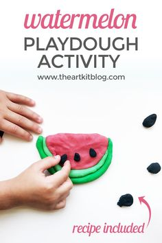 Watermelon Playdough Activity for Kids {Recipe Included} We're so excited to share our latest watermelon themed playdough activity with you. It's such a great sensory