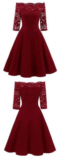 Half Sleeve Lace Burgundy/Navy Short Satin Homecoming Dress, Elegant Prom Dresses - Another! Elegant Prom Dresses, Grad Dresses, Ball Gown Dresses, Pretty Dresses, Beautiful Dresses, Evening Dresses, Dance Dresses, Short Dresses, Formal Dresses