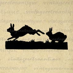 Printable Image Rabbits Silhouette Digital Bunny Illustration