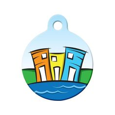 Rowhouses Dog Tag - A colorful and whimsical design of traditional rowhouses in Newfoundland. Pet Id Tags, Dog Tags, Newfoundland And Labrador, Rug Hooking, Whimsical, Colorful, Traditional, Pets, Nature