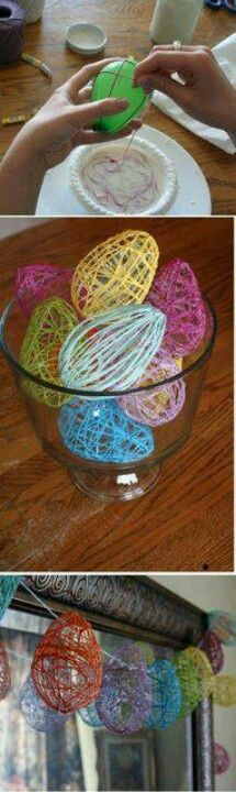 Take string and dip it in craft glue(aka dollar store 1L white kids glue) and wrap it in a neat design over blown up balloons ... Once dry pop balloons and gently pull out... Tada