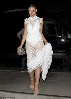 Making a statement? Perrie Edwards looked like a bride-to-be when she stepped out for dinn...