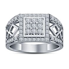 Men's Spl Round Cut White Sim Diamond 10Kt White Gold FN 925 Silver Wedding Ring #MensWeddingRing