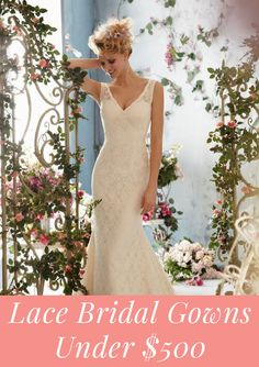 Are you on a budget? Most brides are! Stay under budget with these beautiful lace bridal gowns--all under $500!