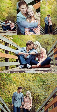 Cute engagement photo ideas @Ashley Stanley these remind me of the ones with you in the pink sweater on the bridge in the autumn. it would be so cute to go back there and take pics with Ben :-)