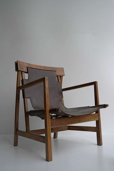 Wood and Leather Armchair, c1930.