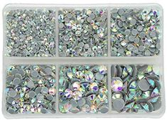 6 Sizes 2.8 mm Round Crystal Gems Stickers for Clothes 1.3 mm Zealer 7800 Pieces Flat Back AB Rhinestones for Craft