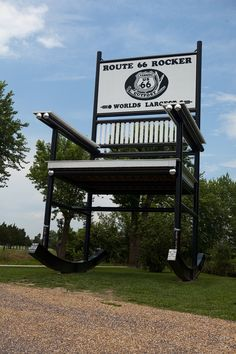 66: Cuba, MO - World's Largest Rocking Chair. Need a break after a long drive on Route 66? Sit back in this 46-foot-tall rocking chair, located four miles west of Cuba, Missouri. It was built by the owner of a nearby general store who was looking to draw attention to his business.