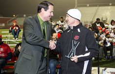 Cedar Hill coach Joey McGuire received the award for Texas Coach of the Year, presented by Chevy Si. Coach Of The Year, Cedar Hill, Chevy Silverado, Athletics, Canada Goose Jackets, Texas, Winter Jackets, Presents, Fashion