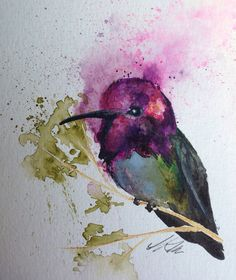 Anna's Hummingbird original watercolor painting 6x9