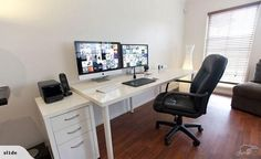 Ikea Linnmon Adils Computer Desk Setup With Drawer For Dual Newest Home Office Monitors Computer Desk Setup, Computer Desks For Home, Home Desk, Imac Setup, Gaming Computer, Office Workspace, Home Office Desks, Office Furniture, Workspace Design