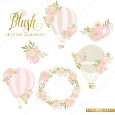 Pink Hot Air Balloons Flowers ClipArt Intant by froufroucraft