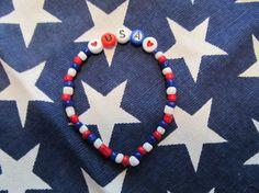Fourth of July USA Stretch Beaded Bracelet by MesheleCrafts