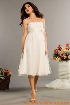 Elegantes Brautkleid kurz aus Tüll A-Linie kaufen online