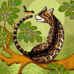 O is for Ocelot and Oriole . O is for Ocelot and Oriole is a whimsical illustration of an Ocelot making the shape of the letter O while gazing at an Oriole bird. It is one of many whimsical illustrated letters in a collection called Alphabet Soup.