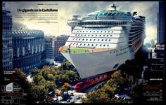 """the virtual recreation of the largest ship in the world in the Paseo de la Castellana in Madrid gives an idea of the magnitude of the vessel. Santiago Bernabeu stadium looks small next to the ship""."