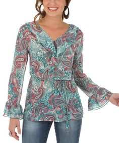 Another great find on #zulily! Jade Paisley Ruffle Button-Up - Women & Plus #zulilyfinds