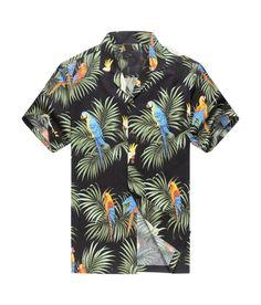 f4812a92cdb Made in Hawaii Men s Hawaiian Shirt Aloha Shirt Parrots and Leaf in Black