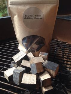 Bourbon Barrel grill wood. Genuine bourbon Barrel staves cut into chunks to add a hint of bourbon taste and smell to your grilling session.