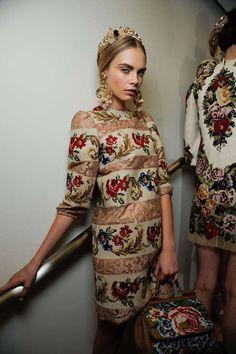 Cara Delevingne in Dolce and Gabbana backstage