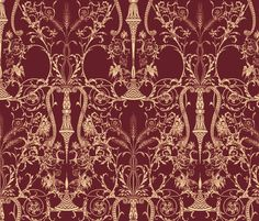 Lady Mary's Bedroom  ~ by PeacoquetteDesigns on Spoonflower ~ bespoke fabric, wallpaper, wall decals & gift wrap ~ Join PD  ~ https://www.Peacoquette.com  #Spoonflower #Peacoquette
