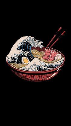 The big wave of ramen - My favorite - .- Die große Welle der Ramen – My favorite – … The great wave of ramen – My favorite – - Japanese Art Modern, Japanese Artwork, Japanese Aesthetic, Aesthetic Art, Aesthetic Anime, Japanese Waves, Japanese Logo, Aesthetic Drawing, Ramen Japanese
