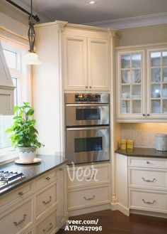 a built-in oven in the corner of a kitchen Stock Photo