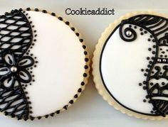 I liked the black and white cookies that I saw online and fell in love with them. Here is my version. The original cookies are way better. P...