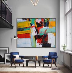 Handmade Extra Large Contemporary Painting, Huge Abstract Canvas Art, Original Artwork by Leo. Hand paint. Green, blue, red, yellow, orange. par CelineZiangArt sur Etsy https://www.etsy.com/fr/listing/246131673/handmade-extra-large-contemporary