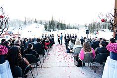 winter wedding on side patio