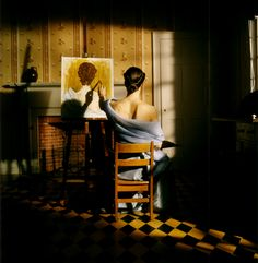 Rodney Smith, Caroline Painting from Behind.  Part of the reason I'm pinning this is because it scares the hell out of me--it's a nightmare.
