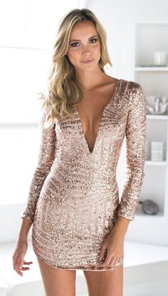 Gold Sequin 3/4 Sleeve Deep V Front Bodycon Dress #ustrendy http://www.ustrendy.com