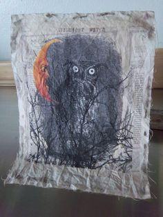 Grungy owl moon fabri cpanel handmade shabby primitive by iwathd09, $7.50
