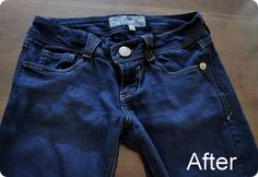 """Dye favorite pair of faded jeans to a dark wash with Rit Dye """"Navy Blue"""" (could add a little black too) - dip jeans for 5 minutes in 10 cups boiling water and dye powder in a bucket. Stir continuously. Rinse till water runs clean. Stitching stays same color because it is a synthetic material"""