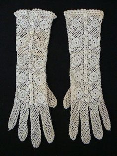 Delicate hand made crochet lace gloves . Victorian era by Kretchko, $40.00