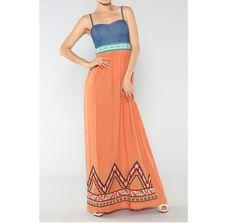 Orange+Maxi+Dress+with+Demin+Top+Boho+Maxi+by+LemniscateAddict,+$49.99