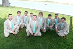 groomsmen: khaki suits and turquoise ties | VIA #WEDDINGPINS.NET