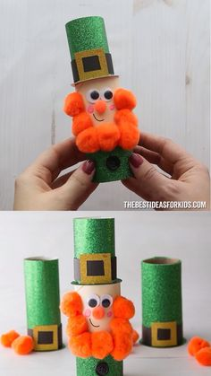LEPRECHAUN PAPER ROLL 🍀 <br> This toilet paper roll leprechaun craft is perfect for kids to make for St Patrick's Day! You can make a leprechaun paper roll or even just the leprechaun hats! Kids Crafts, St Patrick's Day Crafts, Toddler Crafts, Preschool Crafts, Easter Crafts, Holiday Crafts, Kids Diy, Decor Crafts, Quick Crafts