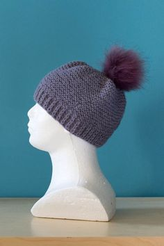 Knitted Woolen Hat with a fur pompon warm hat for by Pikotka