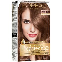 L'Oreal Paris Superior Preference Fade-Defying Color + Shine System, Iced Golden Brown, 1 count - Modern At Home Hair Color, Red Hair Color, Brown Hair Colors, Golden Brown Hair, Light Brown Hair, Vidal Sassoon Hair Color, Permanent Hair Color, Fade Color, Color Kit