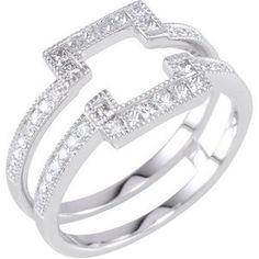 Solitaire Enhancer Ring Guard White Gold Princess Cut Diamonds Wrap Halo Style
