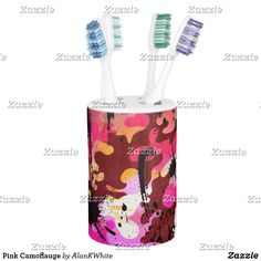 Shop Pink Camoflauge Soap Dispenser & Toothbrush Holder created by AlanKWhite. Muddy Girl Camo, Modern Bathroom Decor, Toothbrush Holder, Soap Dispenser, Pink, Soap Dispenser Pump, Pink Hair, Roses