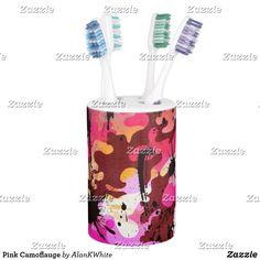 Pink Camoflauge Soap Dispenser & Toothbrush Holder